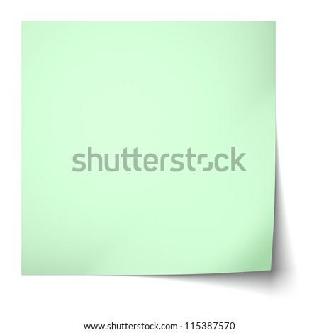 Green sticky note isolated on white background