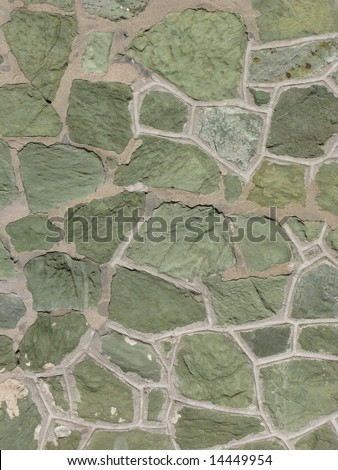 Green stone wall II - stock photo