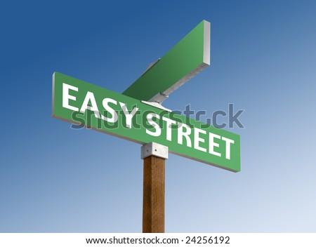Green street sign reading Easy Street