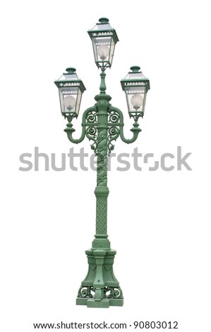 Green streetlamp on white background