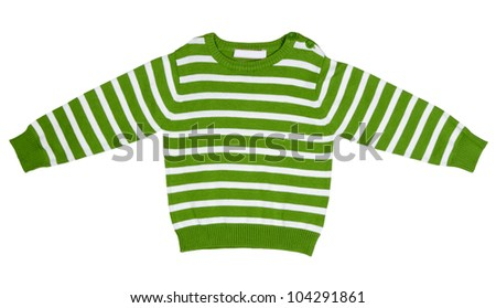 Green striped sweater for children on a white background