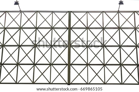 green structure steel of billboard frame with spotlights for rent. isolated on white background Foto stock ©