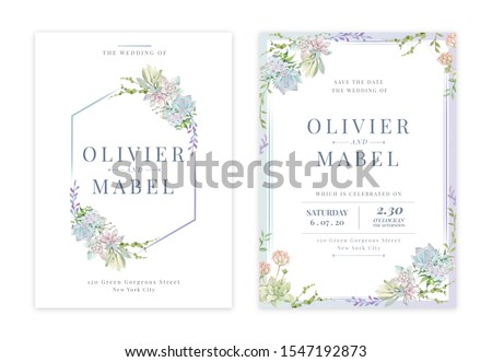 Green succulent flowers watercolor wedding invitation card with text layout