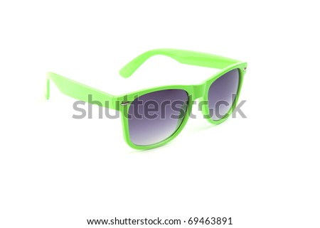 green sunglasses isolated on white background