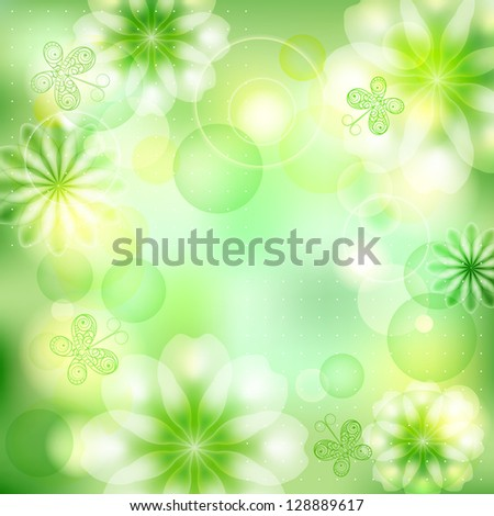 Green sunny background with flowers and butterflies, summer card. Raster copy of vector image