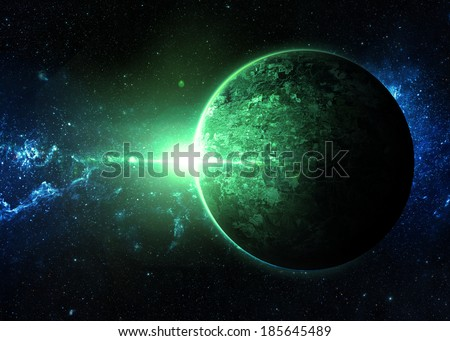 Green Sunrise over Lone Planet - Elements of This Image Furnished By NASA
