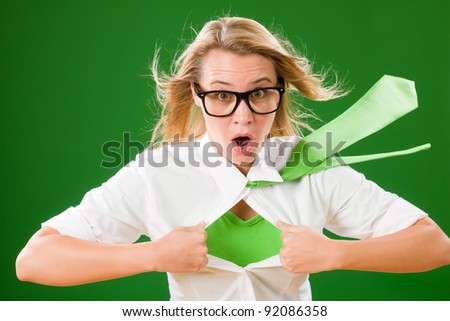 Green Superhero Businesswoman crazy face  Emerges from shirt