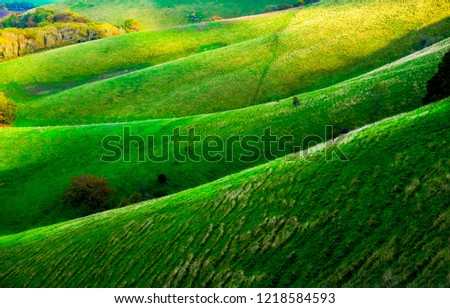 Green sussex rolling hills, the light is low casting high lights and shadows on to of the hills, there are four folds of hills in a line, Firle, East Sussex, UK, stock photo