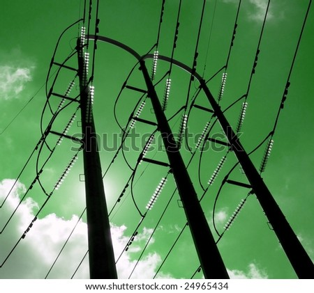 green sustainably generated electrical power: lines, poles, insulators
