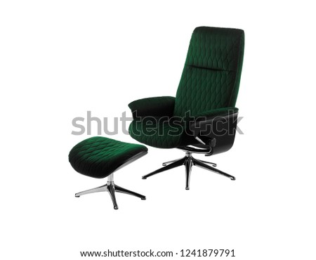 green swivel chair and foot rest  #1241879791