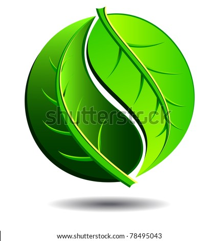 Green symbol concept using Yin Yang in a leaf design - raster version