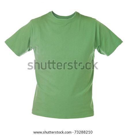 Green T-shirt isolated on white background