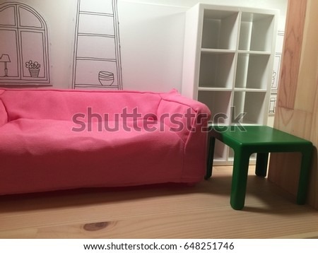 Free photos Living room interior with pink armchair, lamp and yellow ...