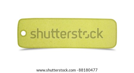 green talk tag recycled paper craft stick on white background
