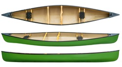 green tandem canoe with wood seats isolated on white - top and side views