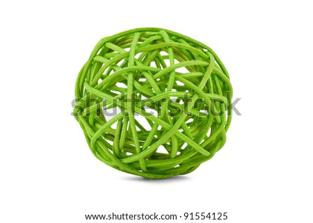Green tangle of willow branches on a white background