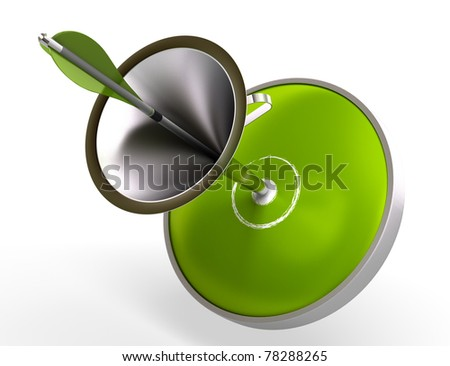 green target and funnel, an arrow hit the center of the dart image is isolated over white background