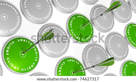 green targets with client marking, green arrows hitting the center and grey targets with prospect marking