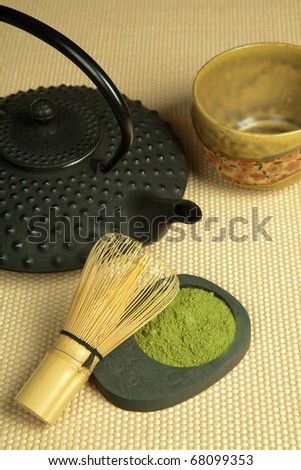 Green tea and Japanese wire whisk made of bamboo for tea ceremony