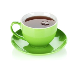 Green tea cup. Isolated on white background