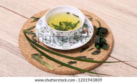 green tea for health and soothing against stress