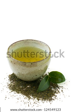 green tea in a bowl isolated on a white background