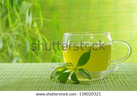 green tea in cup on plants\' background