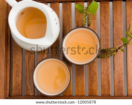 green tea in cups serving on wooden tray.