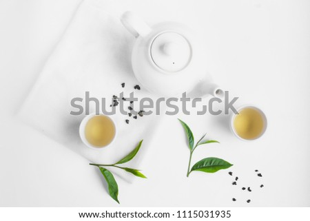 Green tea In white cup White background aroma  #1115031935