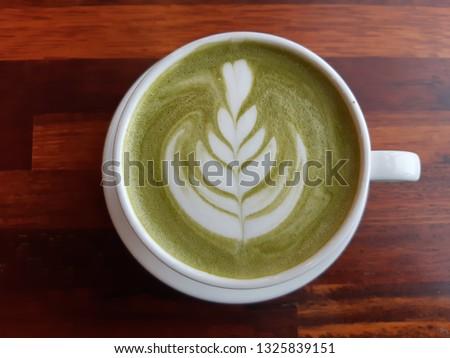 green tea latte latte art #1325839151