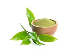 green tea leaves and powder on white background