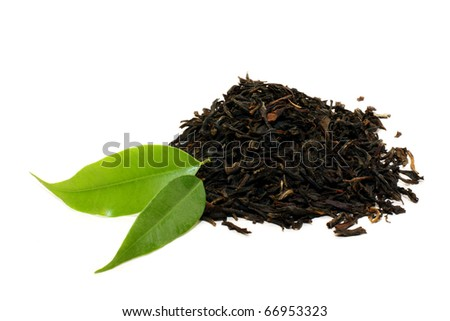 Green tea leaves isolated on white