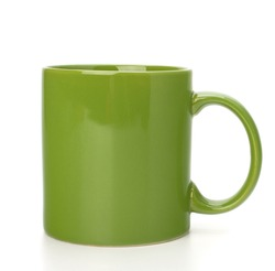 Green tea mug or cup isolated on white background cutout