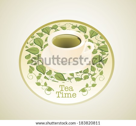 Green tea. Tea menu. Tea time template.