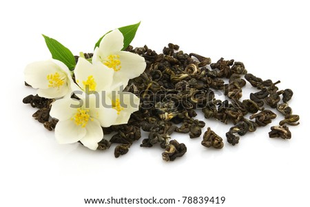 Green tea with jasmine. On a white background