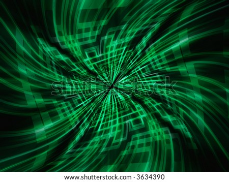 Green techno lines swirl. Computer generated background. - stock photo