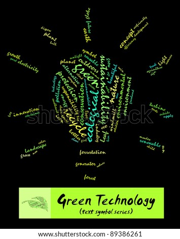 Green Technology info-text composed in the shape of bulb (word cloud/text symbol) suitable for Go Green campaign, corporate social responsibility program, advertisement and green awareness program
