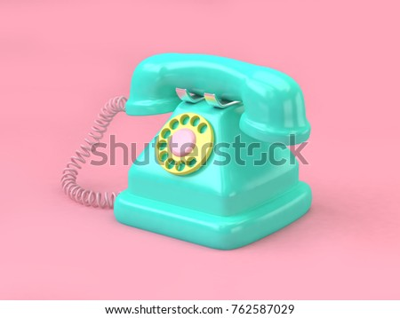 green telephone cartoon style set on minimal pink background 3d rendering technology concept