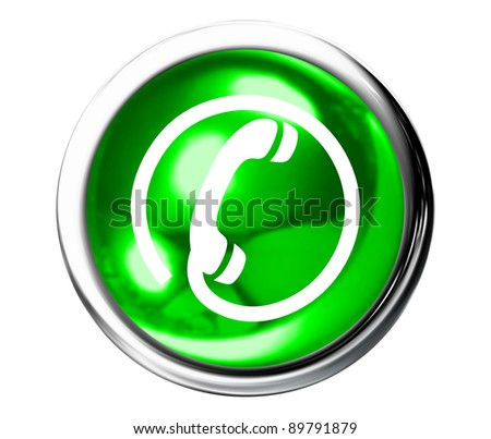 Green Telephone Icon Button