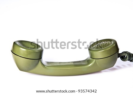 Green Telephone Receiver on white background