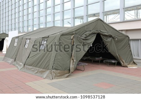 Green Tent Temporary Shelter for Disasters and Refuge #1098537128