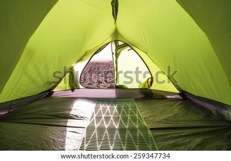 Green Tent with camping mattress