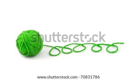 Green thread ball isolated on white background