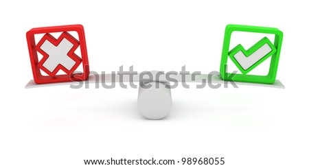 Green tick and red cross balancing on the seesaw