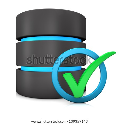 Green tick in a blue ring with database on the white background.