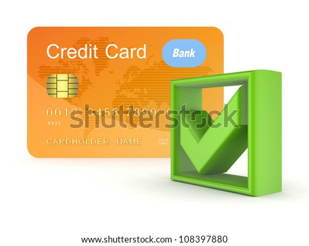 Green tick mark and orange credit card.Isolated on white background.