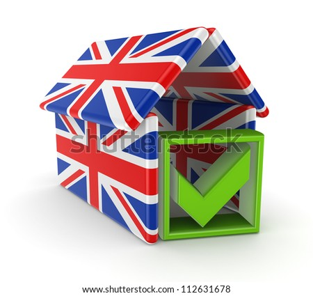 Green tick mark under the roof made of english flags.Isolated on white background.3d rendered.