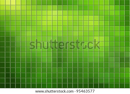 Green tiled mosaic background with copy space