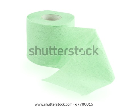 Green toilet roll with perforations over white