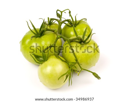 Green tomatoes  isolated on white background